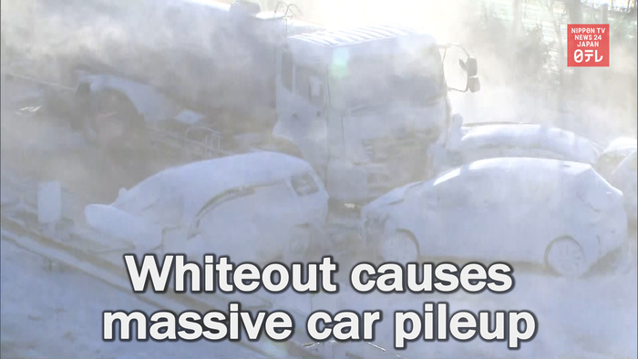 Whiteout causes massive car pileup in northeastern Japan