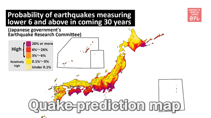 Japan releases map predicting major quakes