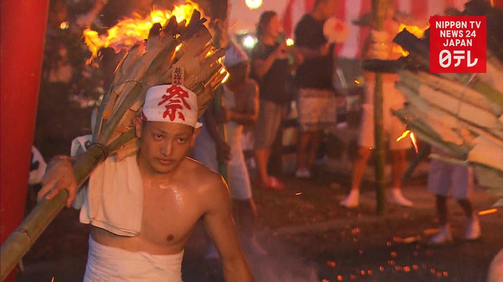 Traditional Shinto fire festival resumed in Fukushima