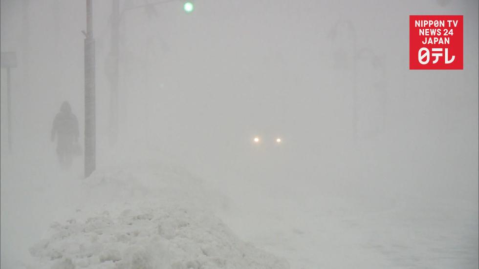 Heavy snow falls on northern Japan