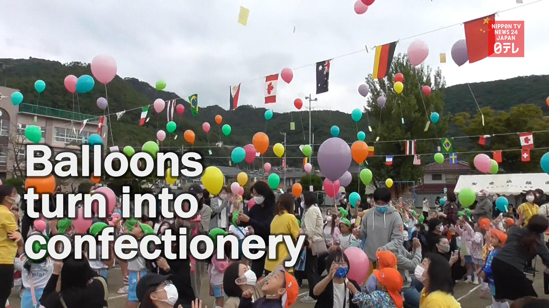 Kindergarten kids' balloons turn into confectionery