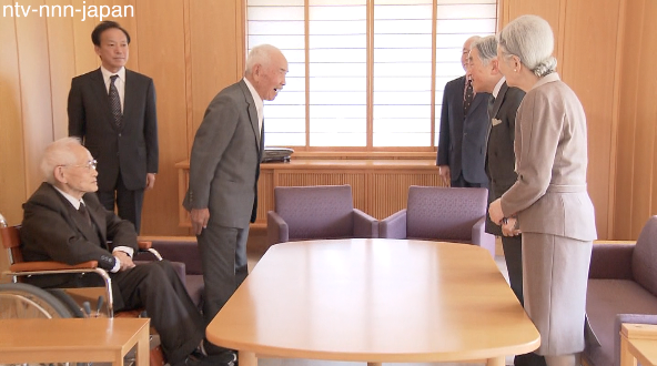 Imperial Couple meets WWII vets who spent two years in cave
