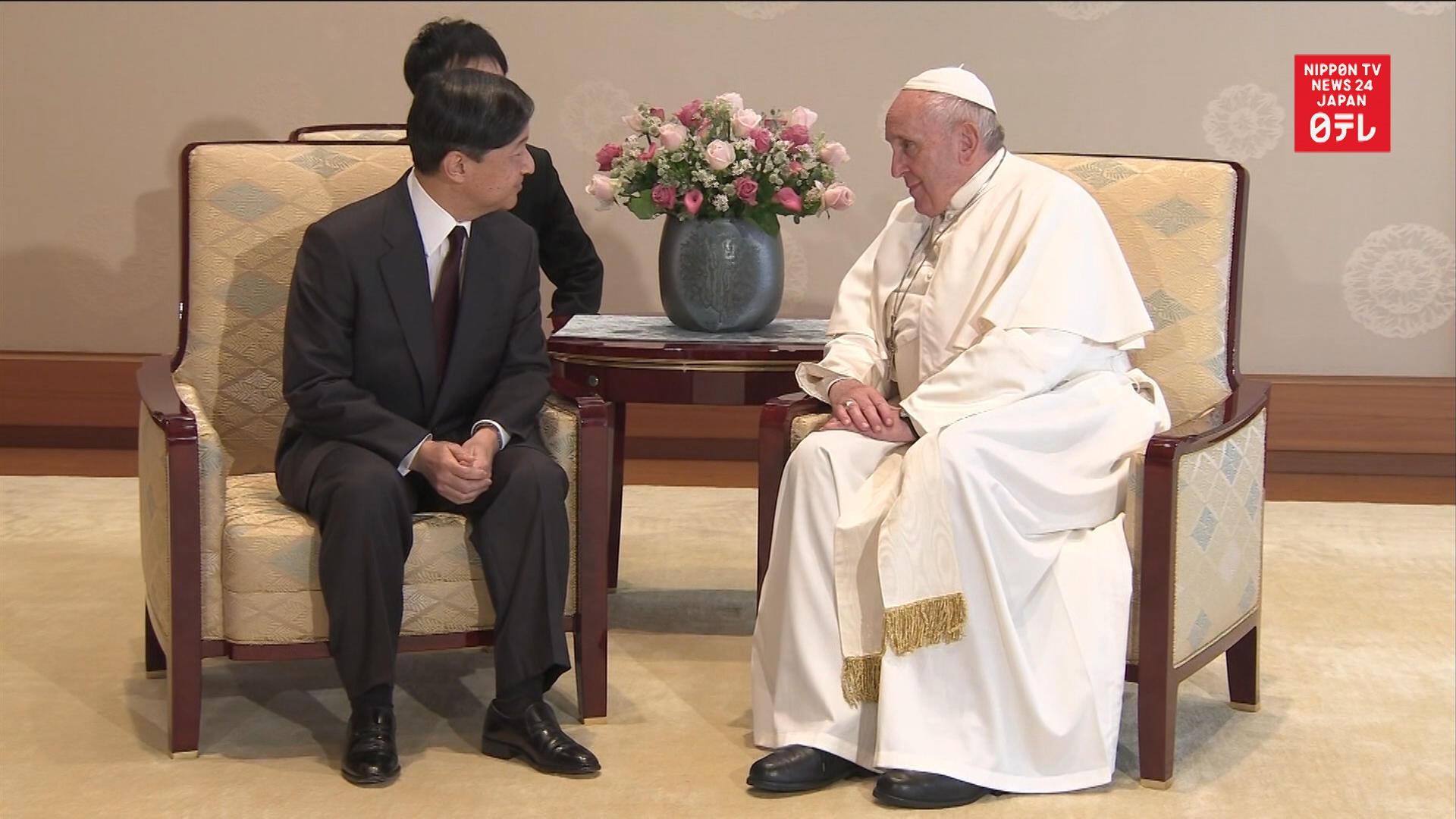 Pope Francis meets Emperor Naruhito