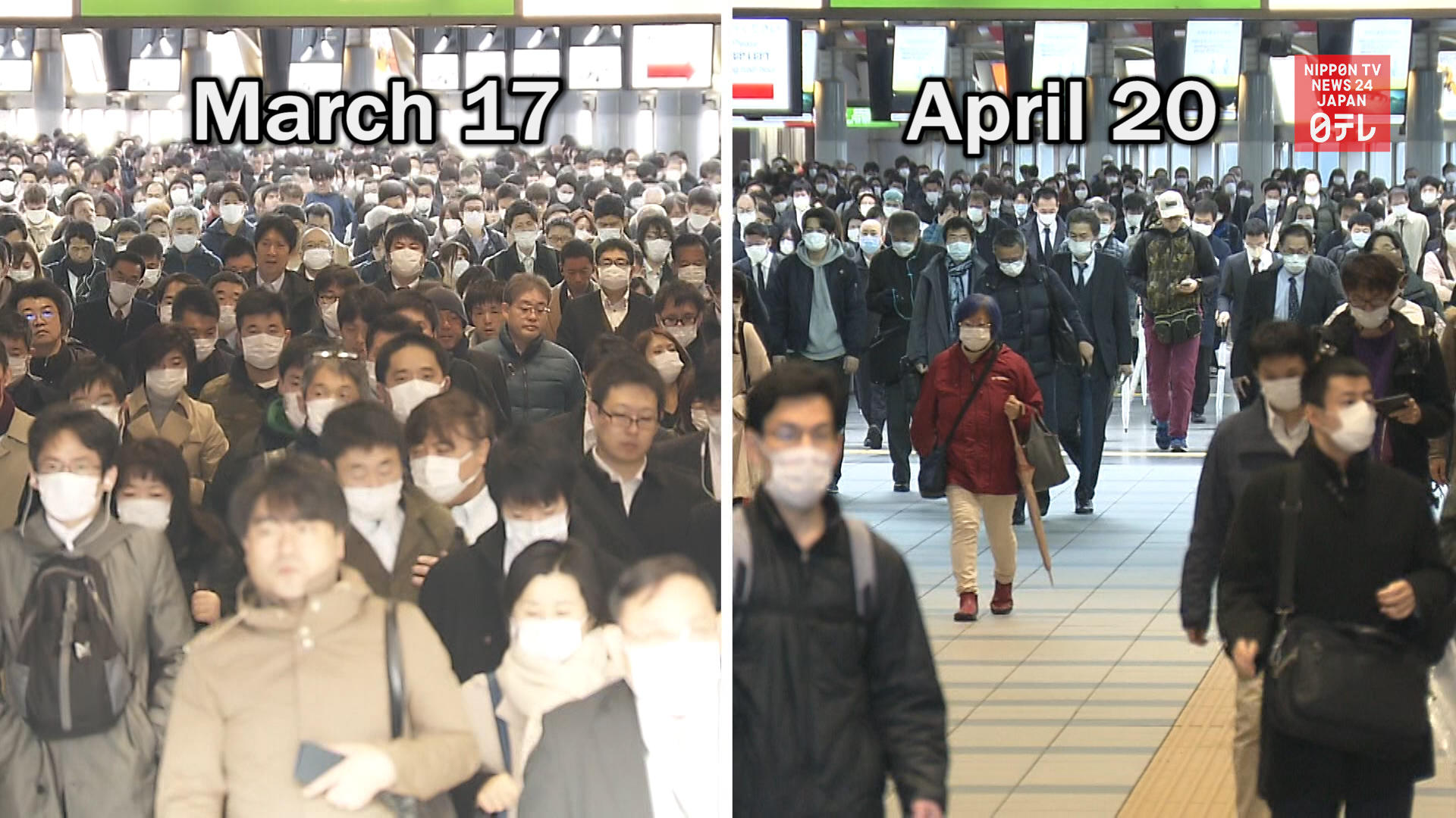 Less people out in Tokyo after state of emergency expanded nationwide