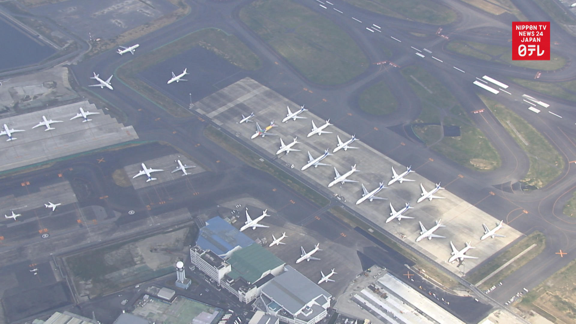 Tokyo's Haneda airport full of idle planes