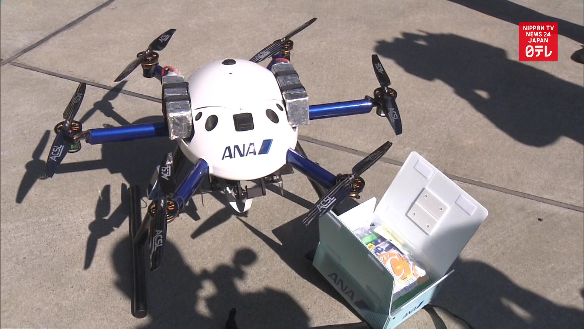 Drone delivers relief goods to isolated Tokyo area