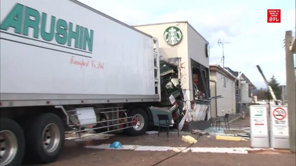 Truck crashes into Starbucks